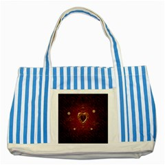 Wonderful Hearts With Floral Elemetns, Gold, Red Striped Blue Tote Bag by FantasyWorld7