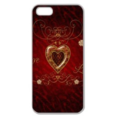 Wonderful Hearts With Floral Elemetns, Gold, Red Apple Seamless Iphone 5 Case (clear) by FantasyWorld7