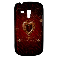 Wonderful Hearts With Floral Elemetns, Gold, Red Galaxy S3 Mini by FantasyWorld7