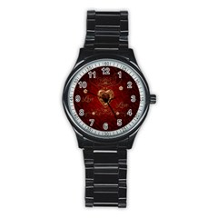 Wonderful Hearts With Floral Elemetns, Gold, Red Stainless Steel Round Watch by FantasyWorld7