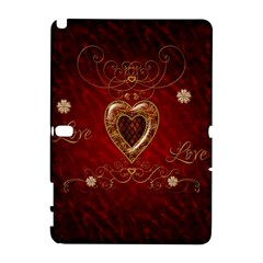 Wonderful Hearts With Floral Elemetns, Gold, Red Galaxy Note 1 by FantasyWorld7