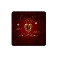 Wonderful Hearts With Floral Elemetns, Gold, Red Square Magnet by FantasyWorld7
