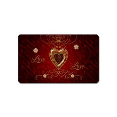 Wonderful Hearts With Floral Elemetns, Gold, Red Magnet (name Card) by FantasyWorld7