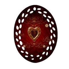 Wonderful Hearts With Floral Elemetns, Gold, Red Oval Filigree Ornament (two Sides) by FantasyWorld7