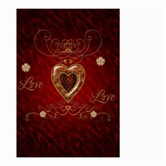Wonderful Hearts With Floral Elemetns, Gold, Red Small Garden Flag (two Sides) by FantasyWorld7