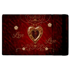 Wonderful Hearts With Floral Elemetns, Gold, Red Apple Ipad 3/4 Flip Case by FantasyWorld7