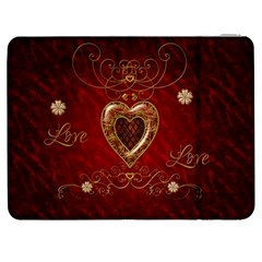 Wonderful Hearts With Floral Elemetns, Gold, Red Samsung Galaxy Tab 7  P1000 Flip Case by FantasyWorld7
