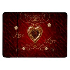Wonderful Hearts With Floral Elemetns, Gold, Red Samsung Galaxy Tab 8 9  P7300 Flip Case by FantasyWorld7