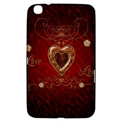 Wonderful Hearts With Floral Elemetns, Gold, Red Samsung Galaxy Tab 3 (8 ) T3100 Hardshell Case  by FantasyWorld7