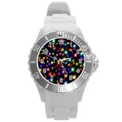 Fireworks Rocket New Year S Day Round Plastic Sport Watch (l) by Celenk
