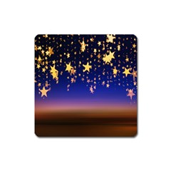 Christmas Background Star Curtain Square Magnet