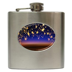 Christmas Background Star Curtain Hip Flask (6 Oz) by Celenk
