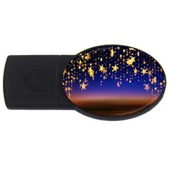 Christmas Background Star Curtain Usb Flash Drive Oval (2 Gb) by Celenk