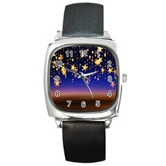 Christmas Background Star Curtain Square Metal Watch