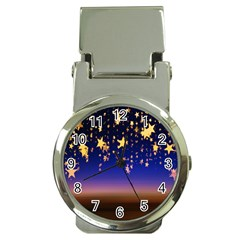 Christmas Background Star Curtain Money Clip Watches by Celenk