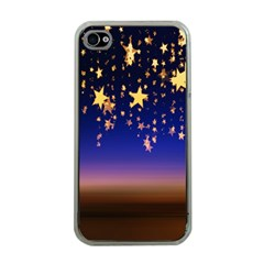 Christmas Background Star Curtain Apple Iphone 4 Case (clear) by Celenk