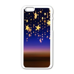 Christmas Background Star Curtain Apple Iphone 6/6s White Enamel Case by Celenk