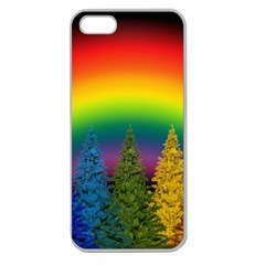 Christmas Colorful Rainbow Colors Apple Seamless Iphone 5 Case (clear) by Celenk
