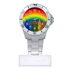 Christmas Colorful Rainbow Colors Plastic Nurses Watch by Celenk