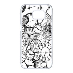 Time Clock Watches Time Of Samsung Galaxy S7 Edge White Seamless Case