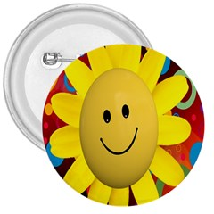 Sun Laugh Rays Luck Happy 3  Buttons by Celenk