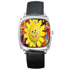 Sun Laugh Rays Luck Happy Square Metal Watch by Celenk