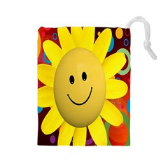 Sun Laugh Rays Luck Happy Drawstring Pouches (large)  by Celenk