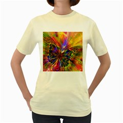 Arrangement Butterfly Aesthetics Women s Yellow T Shirt