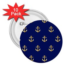 Gold Anchors Background 2 25  Buttons (10 Pack)  by Celenk