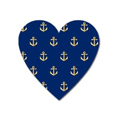 Gold Anchors Background Heart Magnet