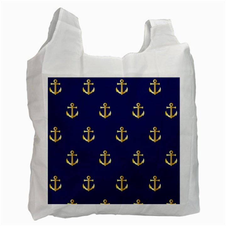 Gold Anchors Background Recycle Bag (One Side)