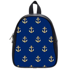 Gold Anchors Background School Bag (small)