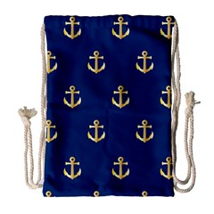 Gold Anchors Background Drawstring Bag (large) by Celenk