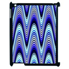 Waves Wavy Blue Pale Cobalt Navy Apple Ipad 2 Case (black) by Celenk