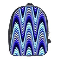 Waves Wavy Blue Pale Cobalt Navy School Bag (xl) by Celenk