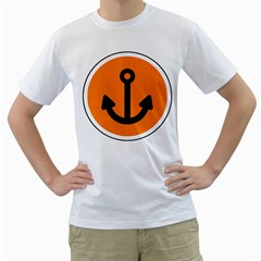 Anchor Keeper Sailing Boat Men s T Shirt (white) (two Sided)