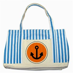 Anchor Keeper Sailing Boat Striped Blue Tote Bag by Celenk
