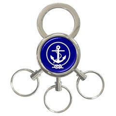 Anchor Flag Blue Background 3 Ring Key Chains by Celenk
