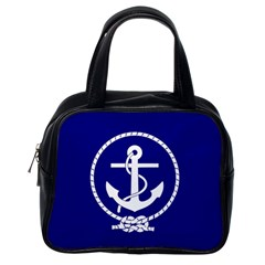 Anchor Flag Blue Background Classic Handbags (one Side) by Celenk