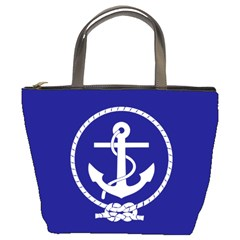 Anchor Flag Blue Background Bucket Bags by Celenk