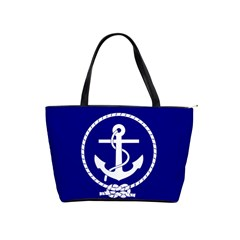 Anchor Flag Blue Background Shoulder Handbags by Celenk