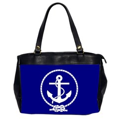 Anchor Flag Blue Background Office Handbags (2 Sides)  by Celenk