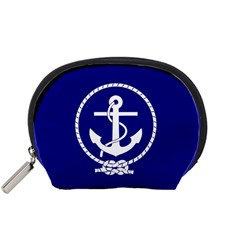 Anchor Flag Blue Background Accessory Pouches (small)  by Celenk