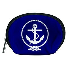 Anchor Flag Blue Background Accessory Pouches (medium)  by Celenk