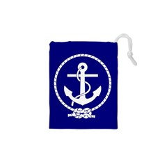 Anchor Flag Blue Background Drawstring Pouches (xs)  by Celenk