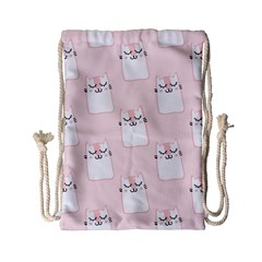 Pattern Cat Pink Cute Sweet Fur Drawstring Bag (small) by Celenk
