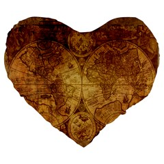 Map Of The World Old Historically Large 19  Premium Flano Heart Shape Cushions by Celenk
