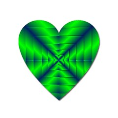 Shiny Lime Navy Sheen Radiate 3d Heart Magnet