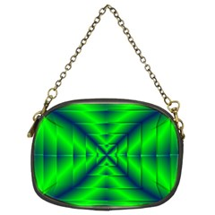 Shiny Lime Navy Sheen Radiate 3d Chain Purses (two Sides)  by Celenk