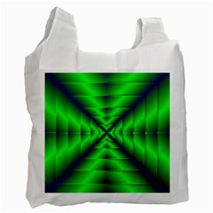 Shiny Lime Navy Sheen Radiate 3d Recycle Bag (one Side) by Celenk